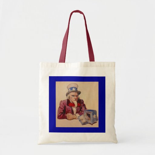GOVERNMENT EMPTY TREASURY UNCLE SAM TOTE BAGS