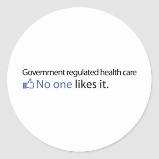Government Regulated Health Care Round Sticker