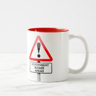 Government sleaze warning. Two-Tone coffee mug