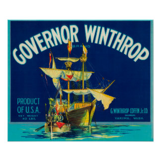 Governor Winthrop Apple Label (blue) - Yakima, W Poster