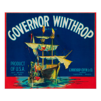 Governor Winthrop Apple Label (red) - Yakima, WA Poster