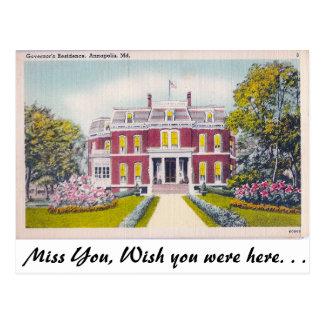 Governor's Residence, Annapolis, Maryland Postcard