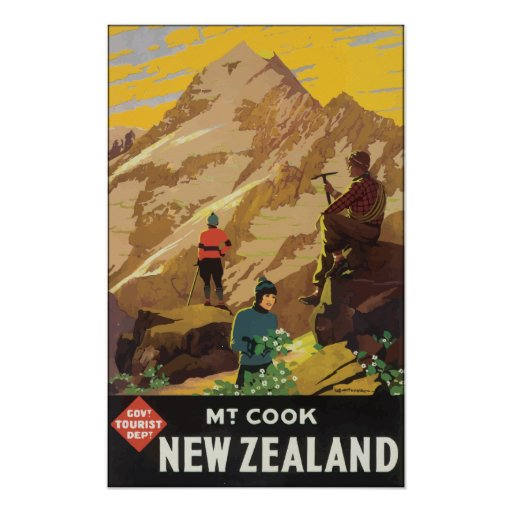 Govt Tourist Dept Mt Cook New Zealand, Vintage