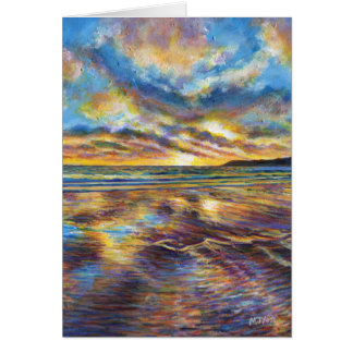 Gower (Wales) beach sunset painting Greeting Card