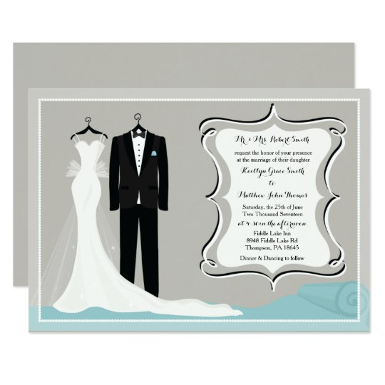 Gown & Tuxedo Wedding or Couples Shower Invitation