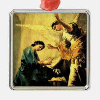 Goya: The Annunciation, famous religious painting Silver-Colored Square Decoration