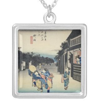 Goyu: Waitresses Soliciting Travellers Silver Plated Necklace