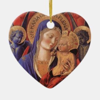 Gozzoli: Madonna and Child, Ceramic Heart Decoration