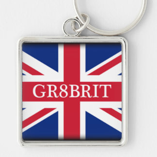 Gr8brit Key Ring Silver-Colored Square Key Ring