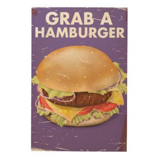 Grab a Hamburger Vintage Food Poster. Wood Canvas