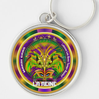 Grab Bag Mardi Gras The Queen Style 1 Silver-Colored Round Key Ring