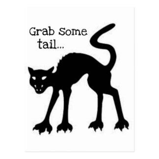 GRAB SOME TAIL...HALLOWEEN BLACK CAT PRINT POSTCARD
