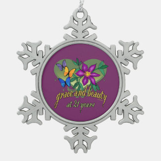Grace and Beauty at 21 Pewter Snowflake Decoration