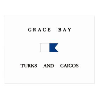 Grace Bay Turks and Caicos Alpha Dive Flag Post Card