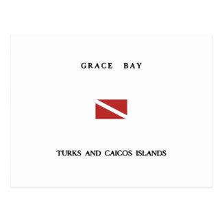Grace Bay Turks and Caicos Islands Scuba Dive Flag Postcard
