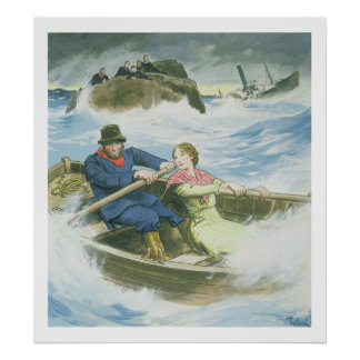 Grace Darling (1815-41) and her father rescuing su Poster