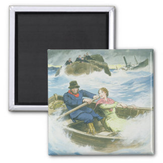 Grace Darling (1815-41) and her father rescuing su Square Magnet