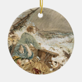 Grace Darling and her father saving the shipwrecke Round Ceramic Decoration