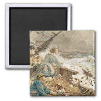 Grace Darling and her father saving the shipwrecke Square Magnet