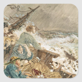 Grace Darling and her father saving the shipwrecke Square Sticker