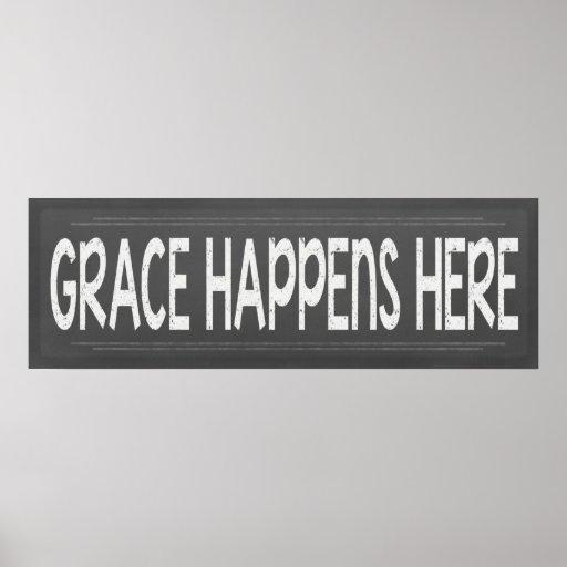 Grace Happens Here Christian Chalkboard  Look Sign Print