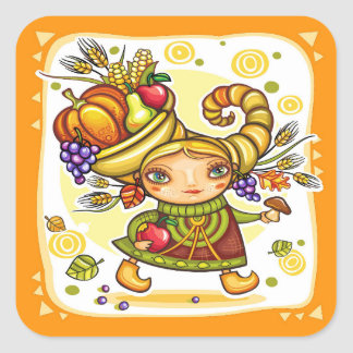 Grace Holiday Fall Thanksgiving Cornucopia Sticker