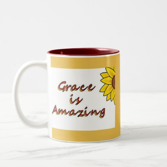 Grace is Amazing - Sunflower Two-Tone Coffee Mug