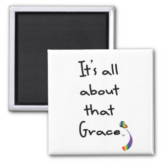 Grace Rainbow Butterfly 2 Inch Square Magnet