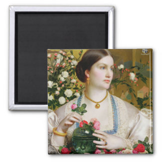 Grace Rose, 1866 (oil on panel) Square Magnet