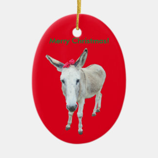 Grace the Donkey with a Red Bow Christmas Ornament