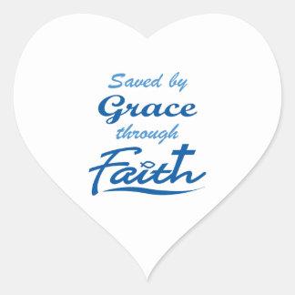 GRACE THROUGH FAITH HEART STICKER