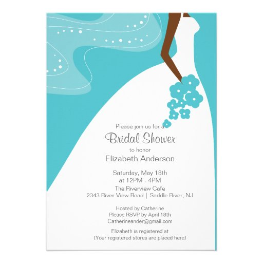Graceful African American Bride Bridal Shower Invites