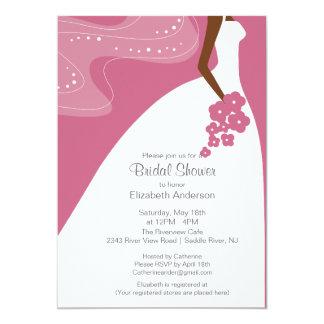 "Graceful African American Bride Bridal Shower 5"" X 7"" Invitation Card"