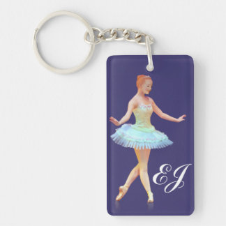Graceful Ballerina Customizable Monogram Double-Sided Rectangular Acrylic Key Ring
