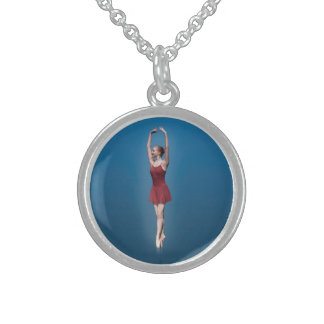 Graceful Ballerina On Pointe in Red and Blue Neckl Personalized Necklace