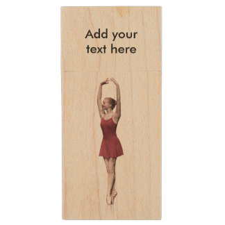Graceful Ballerina On Pointe Wood USB 2.0 Flash Drive