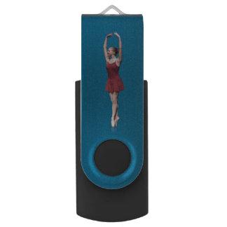 Graceful Ballerina On Pointe Swivel USB 2.0 Flash Drive