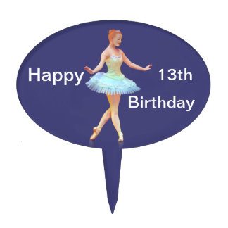 Graceful Ballerina with Red Hair Cake Pick
