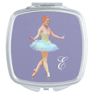 Graceful Ballerina with Red Hair, Monogram Travel Mirrors