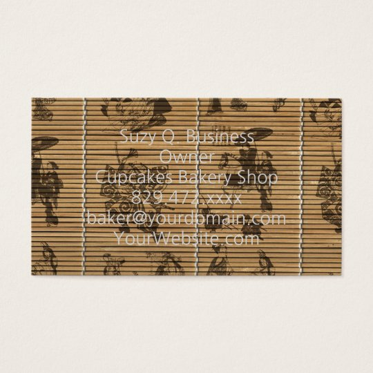 graceful Bamboo Look Custom pattern geisha samurai Business Card