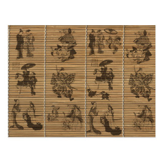 graceful Bamboo Look Custom pattern geisha samurai Postcard