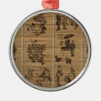 graceful Bamboo Look Custom pattern geisha samurai Silver-Colored Round Decoration