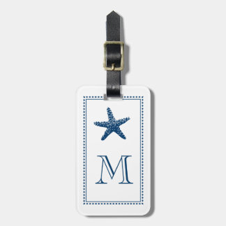 Graceful Beach Starfish Monogram BLUE Luggage Tag