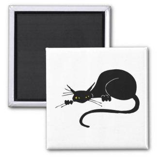 Graceful Black Cat Square Magnet