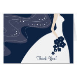 Graceful Blue Bride Thank You Note Card