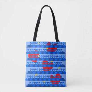 Graceful Blue Swans and Red Hearts Pattern Tote Bag