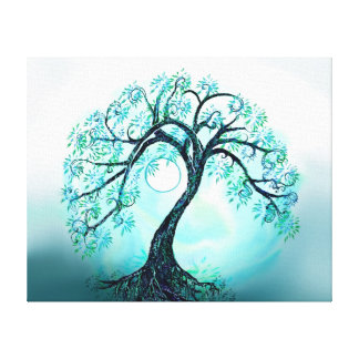 Graceful Blue Tree of Life with Moon Canvas Print