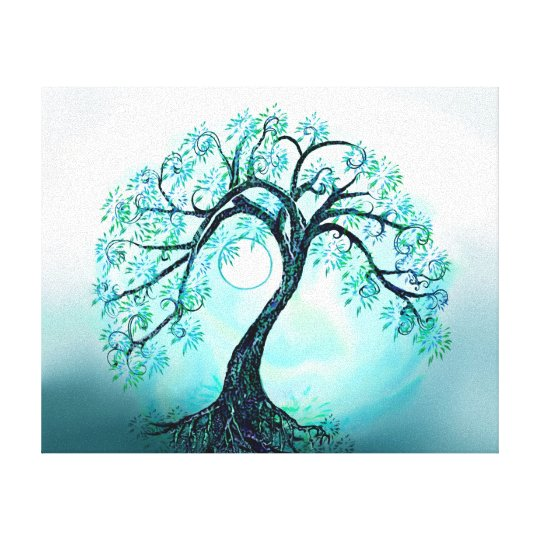 Graceful Blue Tree of Life with Moon Canvas