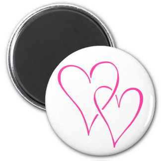 Graceful Interlocking Pink Hearts Magnets