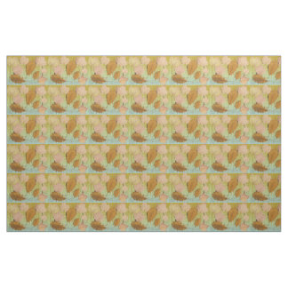 Graceful Leaves Tan Brown Beige Fabric